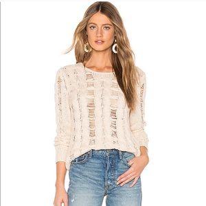 Lovers + Friends cream / tan open weave sweater XS